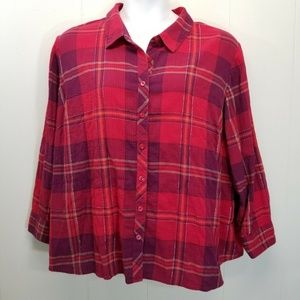 Catherines 2XWP Shirt Top Red Plaid Button Down